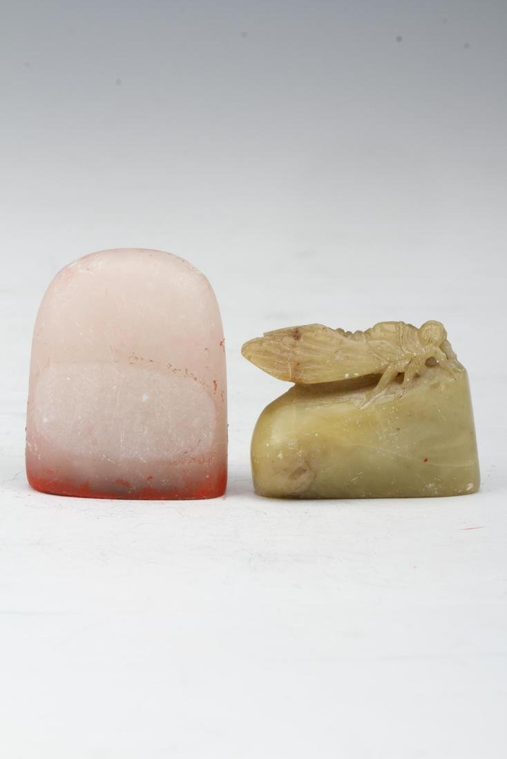 [CHINESE]A PAIR OF SHOU SHAN STONE SEALS WITH INSECT
