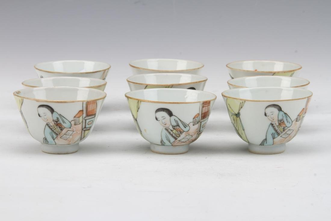 [CHINESE]A SET OF QING DYNASTY STYLE TEA BOWL PAINTED