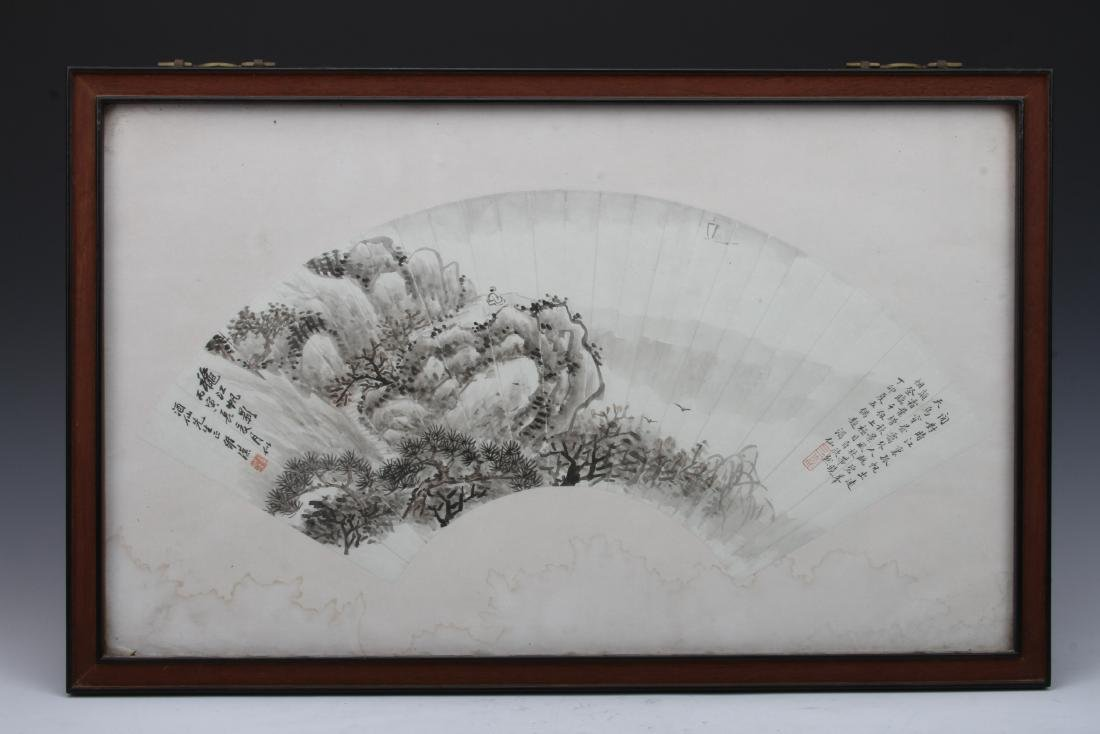 """[CHINESE] """"WEI HAN"""" MARKED CHINESE INK FAN PAINTING OF"""