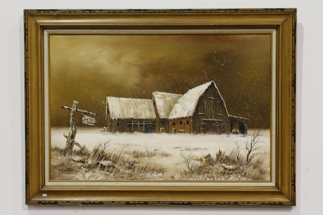 """A OIL PAINTING""""A SHED IN THE SNOWY PLAIN""""BY M.OTTO"""