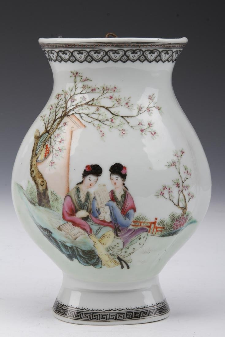 [CHINESE] FAMILLE ROSE WALL VASE PAINTED WITH FIGURE