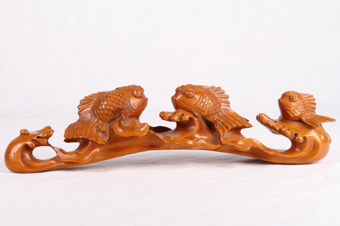 "[CHINESE] BOX WOOD CARVED GOLDFISH L:15"" W:3.5"" H:3.5"""