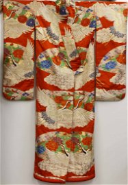 [JAPANESE] A JAPANESE KIMONO EMBROIDER WITH RED CROWNED