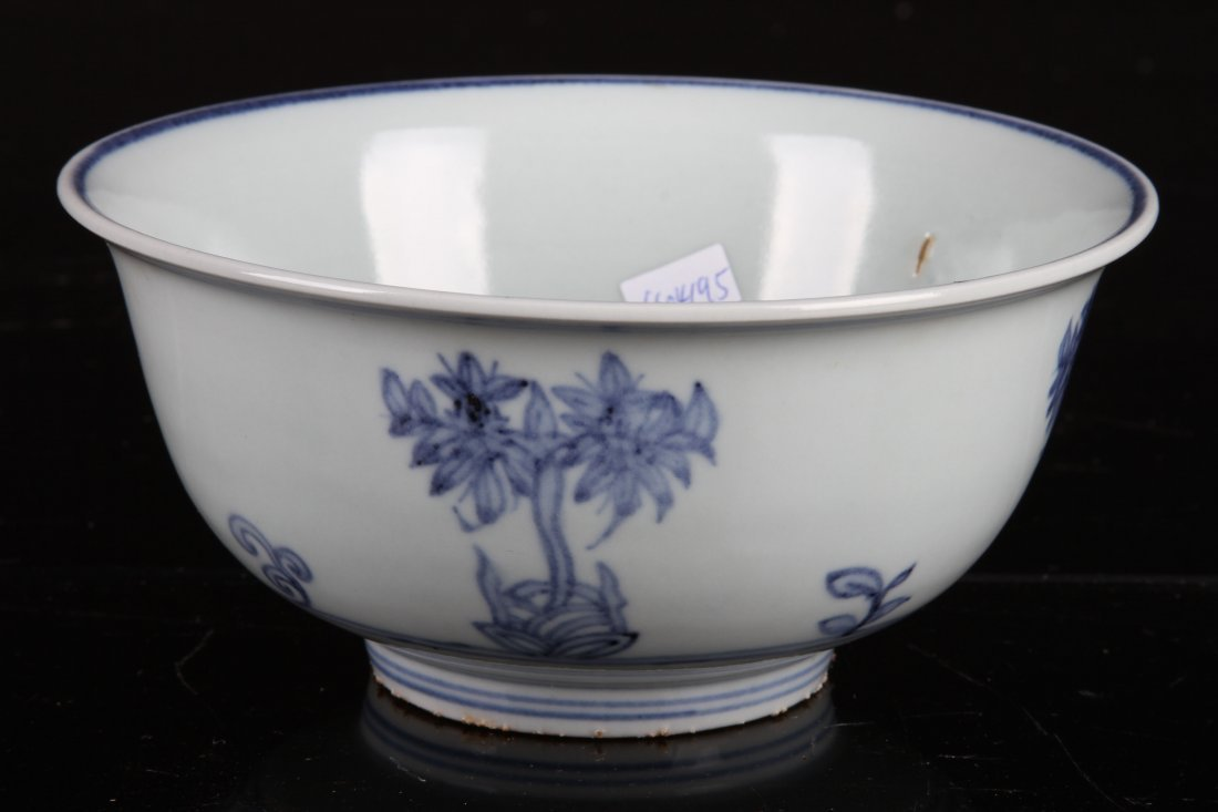 [CHINESE]A LATE 19TH CENTURY BLUW AND WHITE BOWL PAINED
