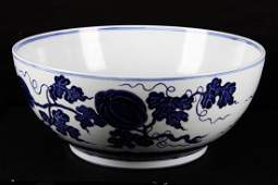 CHINESEA MING DYNASTY STYLED BLUE AND WHITE BOWL