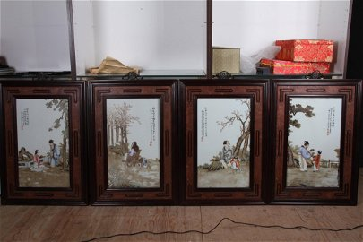 """[CHINESE]A SET OF """"WANG QI""""MARKED FAMILLE ROSE SCREEN"""