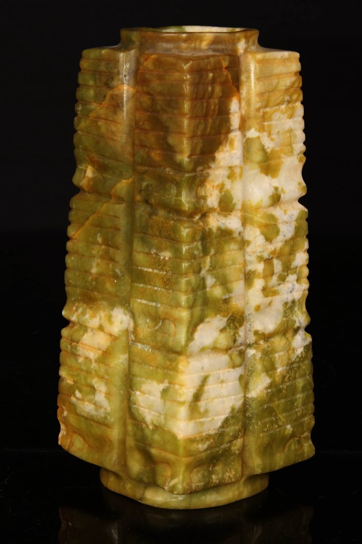 """[CHINESE]A HONGSHAN STYLED JADE CARVED CONG W:3"""" H:7"""" - 2"""