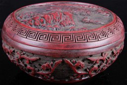 [CHINESE]A MING STYLED CINNABAR BOX CARVED WITH