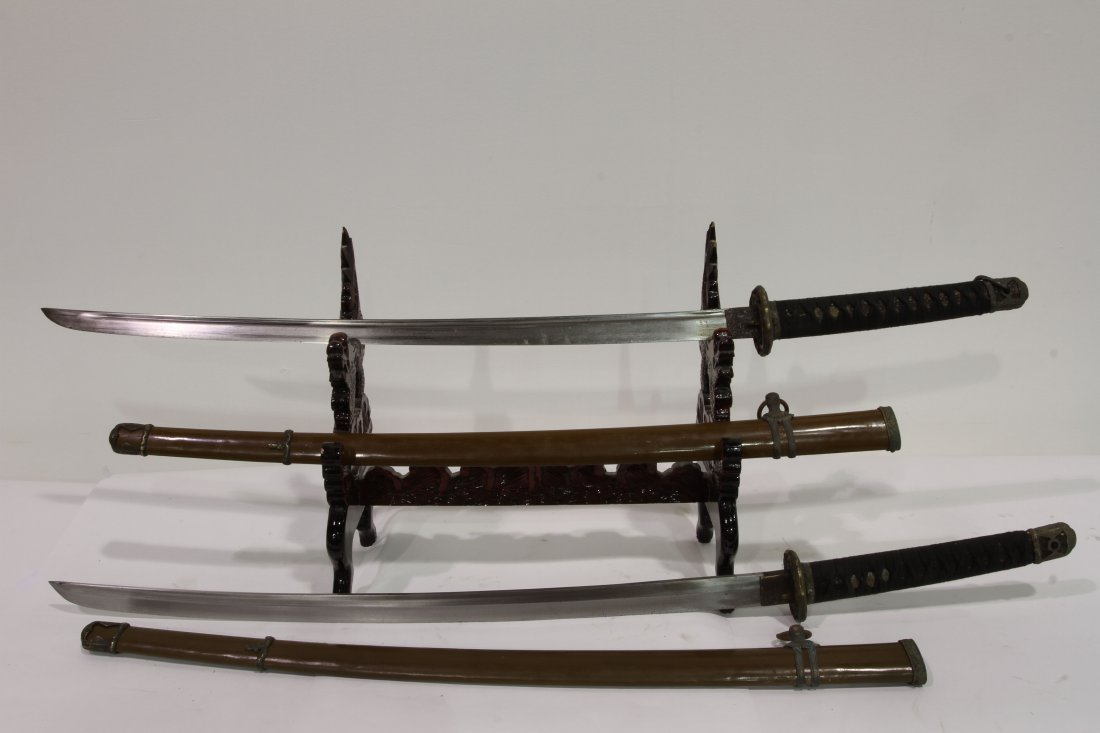 """[OTHER]A PAIR OF JAPANESE KATANA L:39"""" W:2.75"""" - 2"""