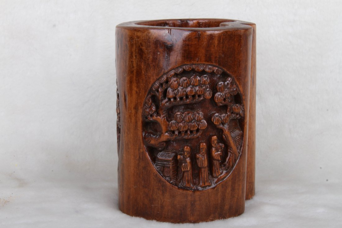 """[CHINESE] OLD BAMBOO CARVED PENHOLDER L:3.5"""" W:3"""" H:4"""