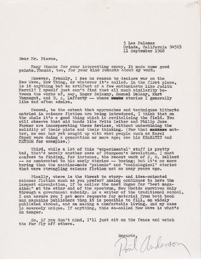 Science Fiction POUL ANDERSON Typed Letter Signed