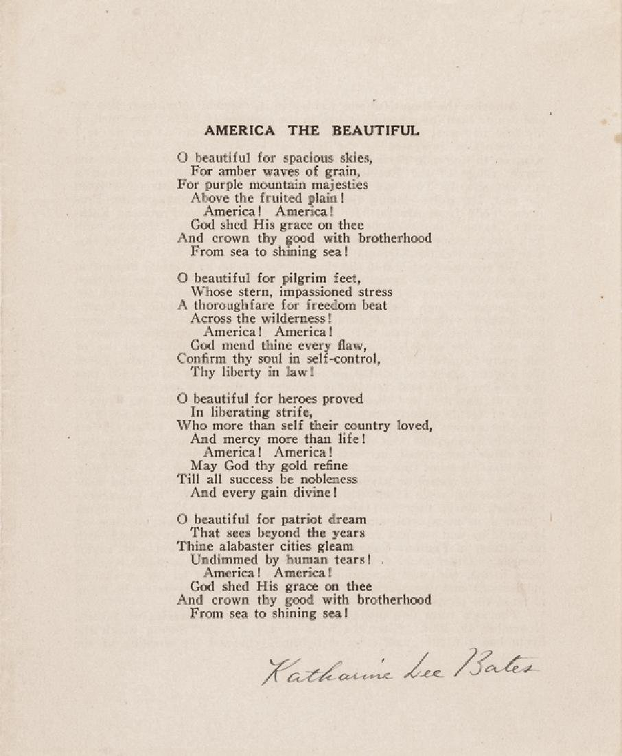 KATHERINE LEE BATES Signed AMERICA THE BEAUTIFUL