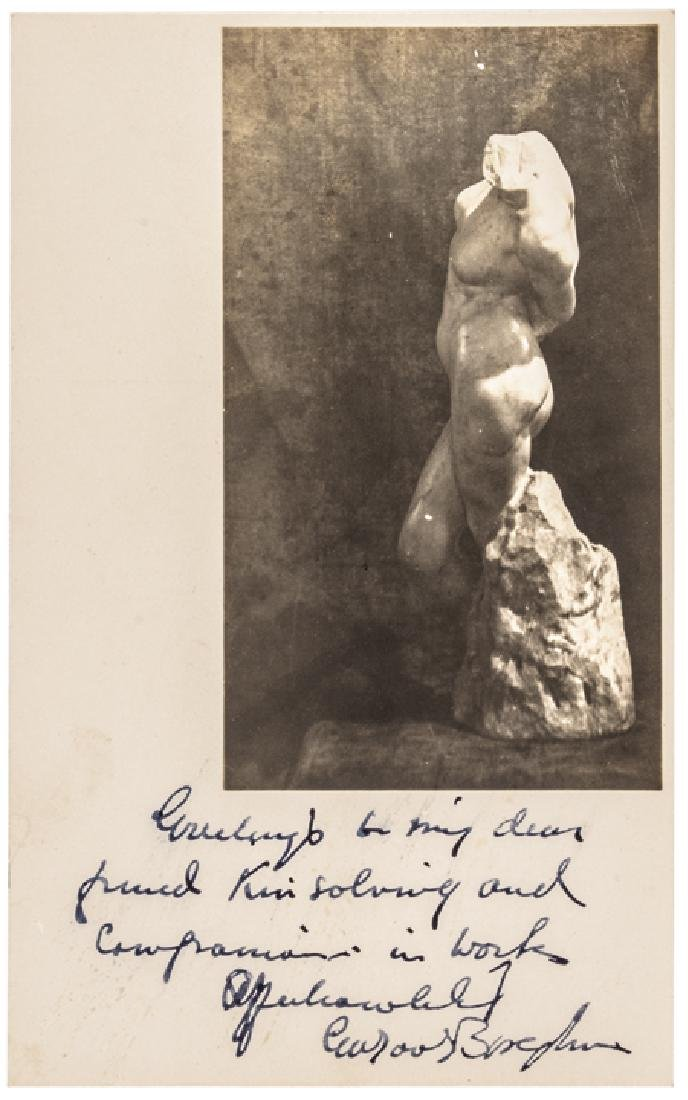 Sculptor GUTZON BORGLUM Photo Inscribed + Signed