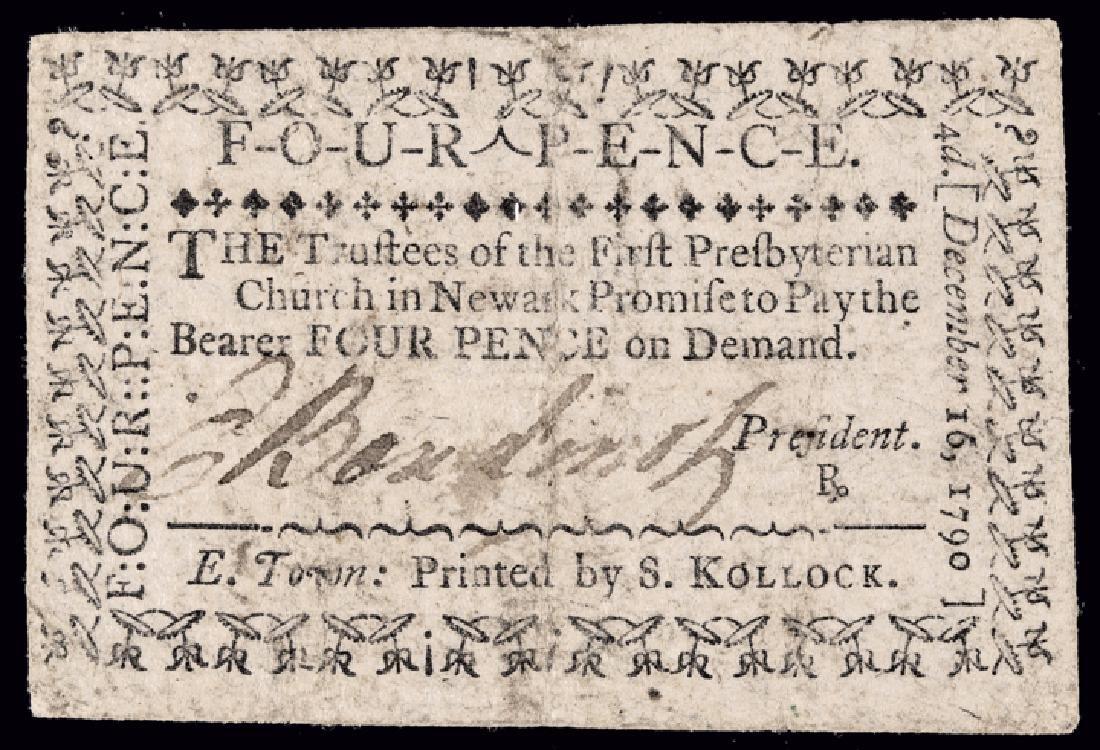 ELIAS BOUDINOT Signed 1790 4 Pence Church Note