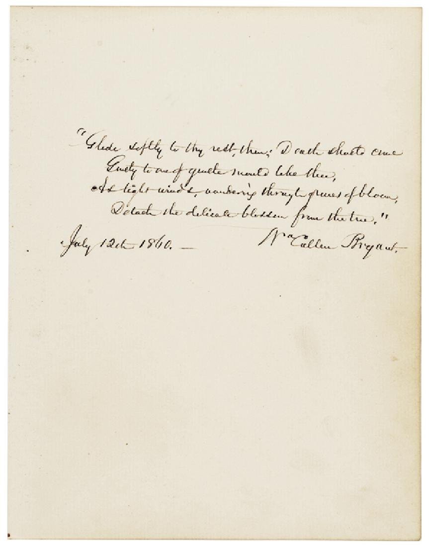 WILLIAM CULLEN BRYANT Autograph Quotation Signed