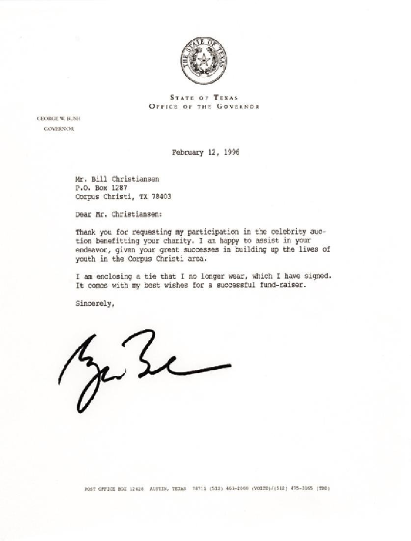 GEORGE W. BUSH Autographed Necktie + Letter
