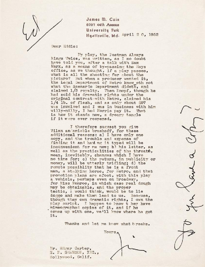 Superb Author JAMES M. CAIN Typed Letter Signed
