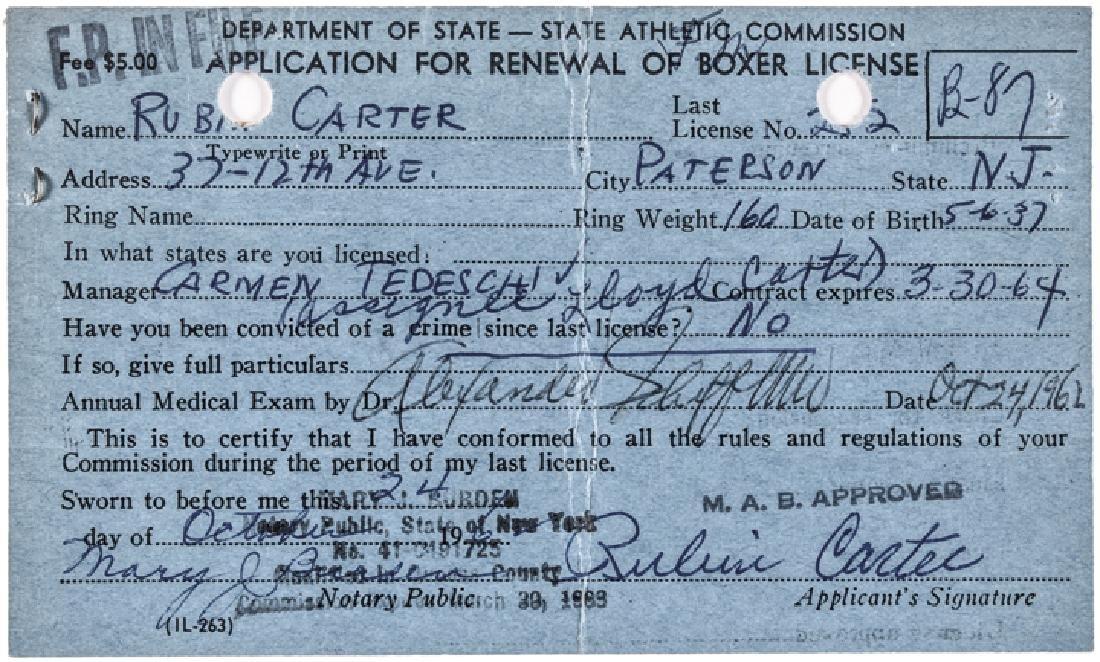 Rubin Hurricane Carter Boxing License Application