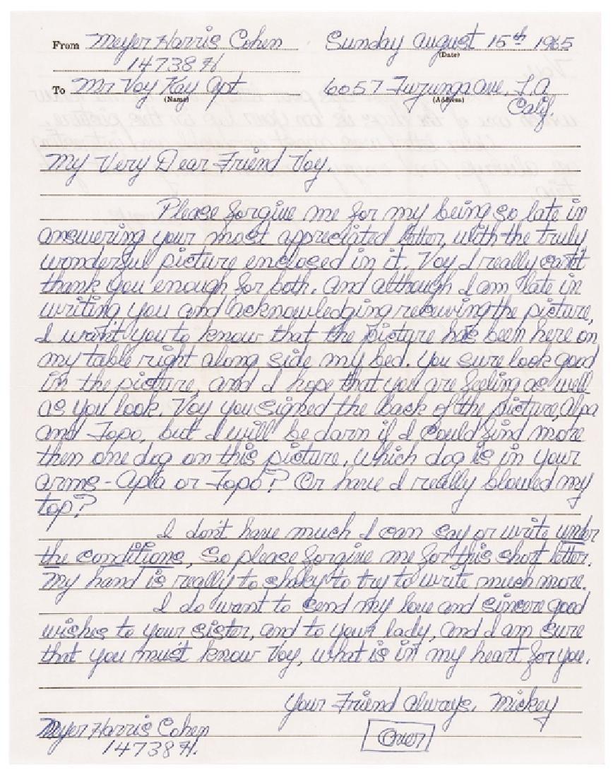 "MEYER HARRIS ""MICKEY"" COHEN 8 Autograph Letters"