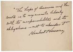 Autograph Quotation Signed by HERBERT HOOVER