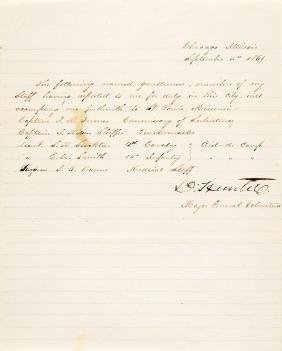 1861 DAVID HUNTER Union Civil War General Orders
