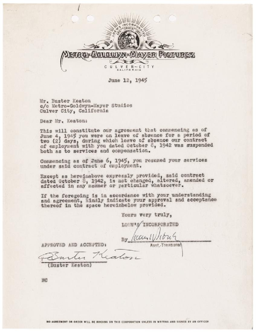 1945 BUSTER KEATON Signed Agreement with MGM