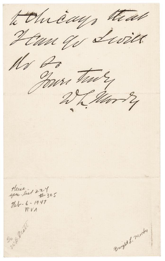 DWIGHT LYMAN D. L. MOODY Autograph Letter Signed - 2