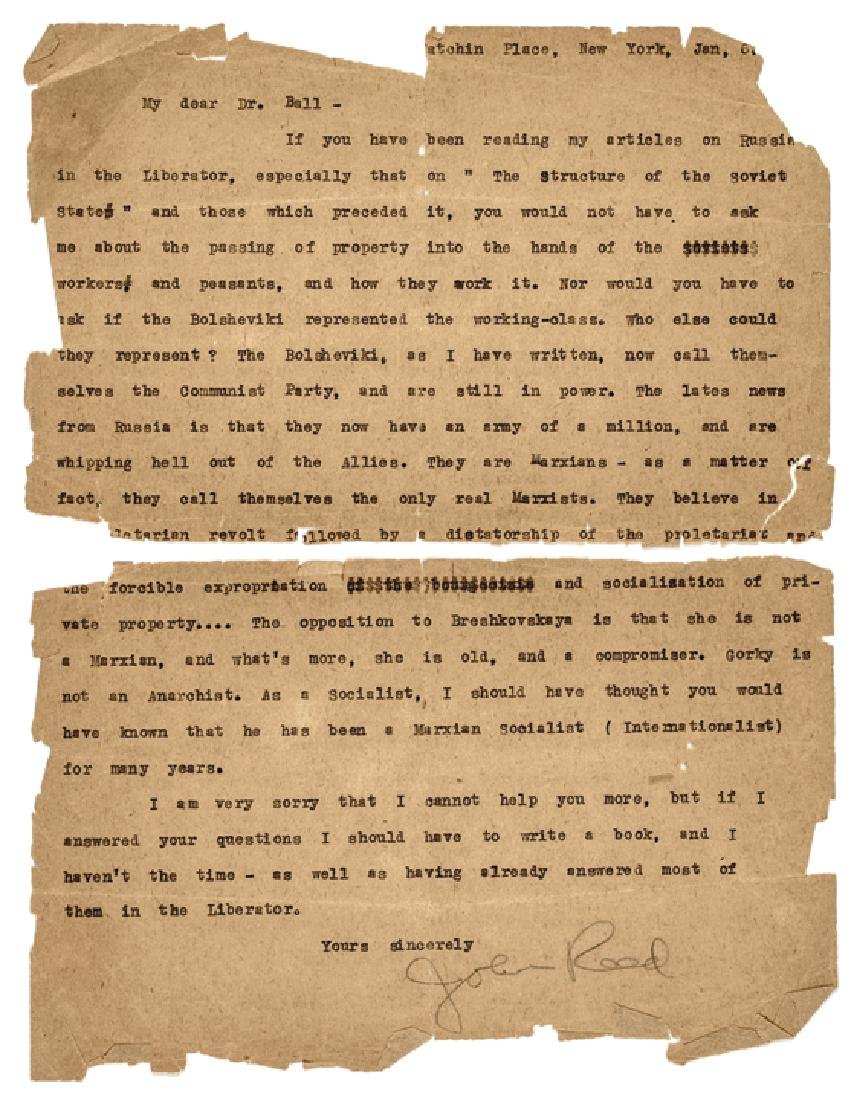 Communist JOHN SILAS REED Typed Letter Signed