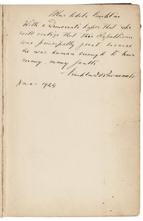 FRANKLIN D. ROOSEVELT Book Inscribed & Signed