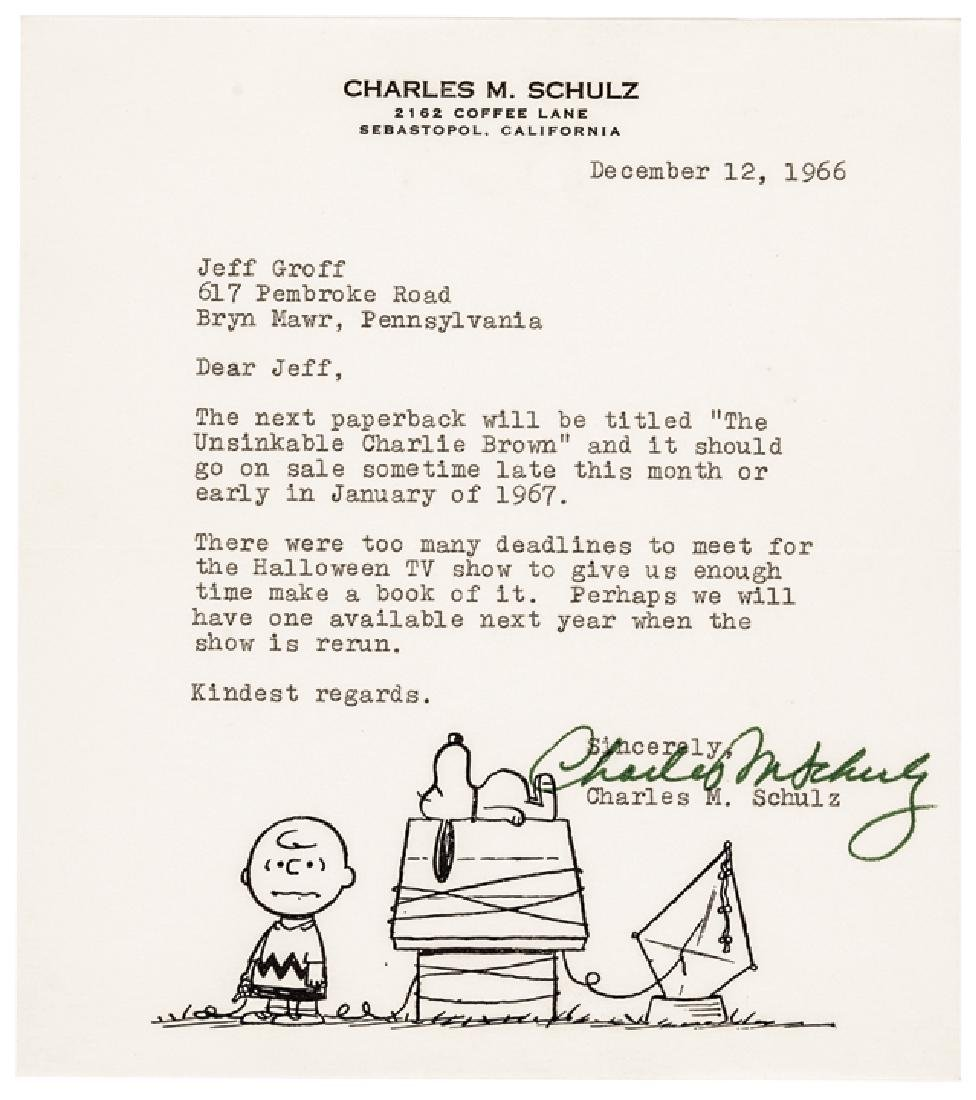 Cartoonist CHARLES M. SCHULZ Typed Letter Signed