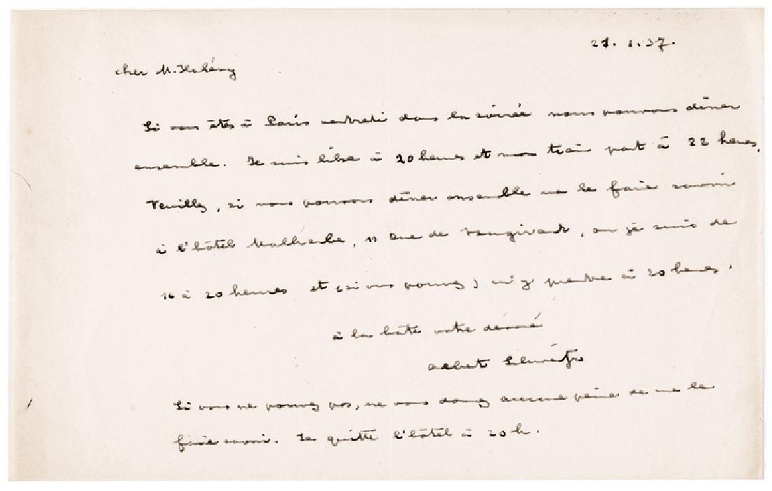 ALBERT SCHWEITZER Autograph Letter Signed