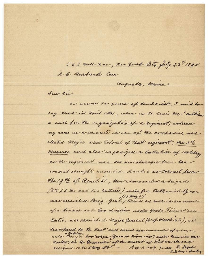 Maj. General FRANZ SIGEL Autograph Letter Signed