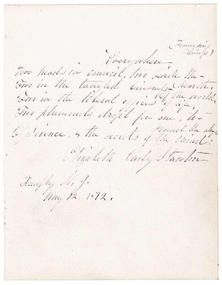 1872 ELIZABETH CADY STANTON Autograph Quotation