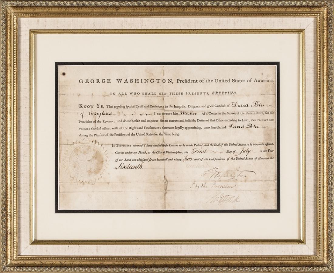 GEORGE WASHINGTON + THOMAS JEFFERSON Signed Doc.
