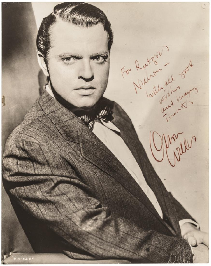 Gorgeous Inscribed + Signed ORSON WELLES Photo!