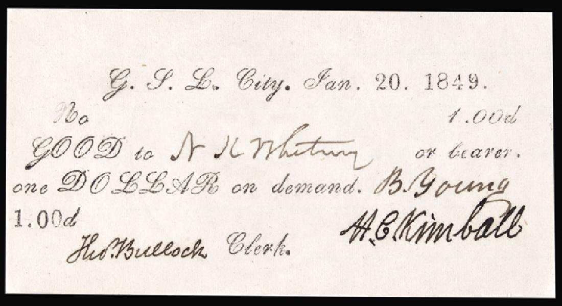 BRIGHAM YOUNG Signed 1849 G.S.L.C Mormon $1 Note