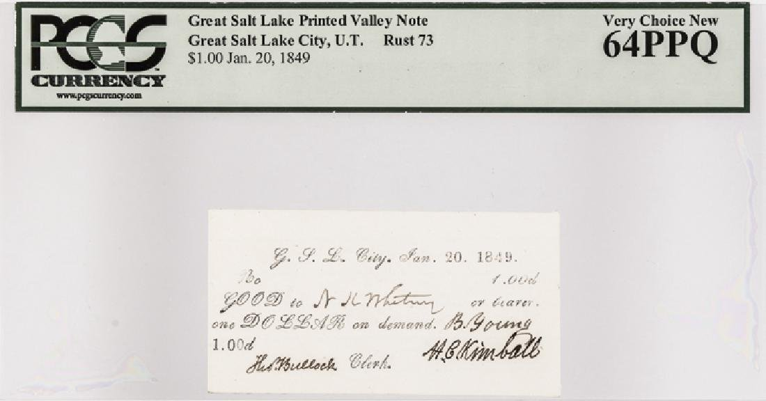 BRIGHAM YOUNG Signed 1849 G.S.L.C Mormon $1 Note - 3