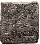 c. 1750 Earth + Heavens Woodblock Printing Plate