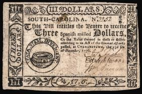 Colonial Currency, SC Dec 1776 Fully Signed PMG AU-50