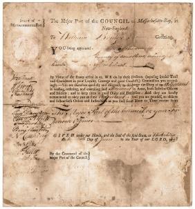 1778 Revolutionary War Mass. Militia Appointment