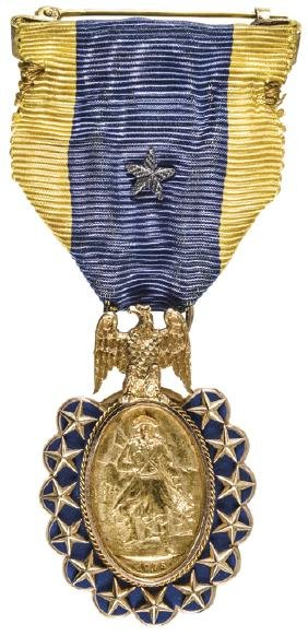 1883 14 carat Gold, SONS OF THE REVOLUTION Medal