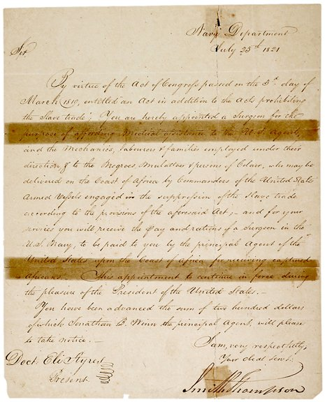 6: 1821 Naval Letter, Slave Trade Suppression