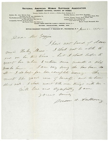7: Susan B. Anthony Signed Letter,Envelope, 1905