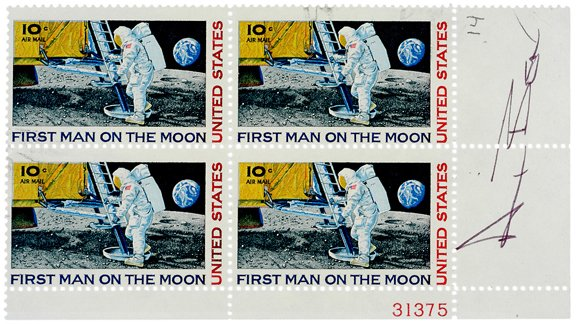 10: Astronaut Alan Bean Signed Man on Moon Stamps