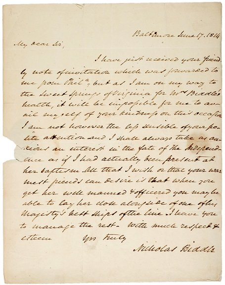 13: 1814 Naval Letter Signed by Niicholas Biddle