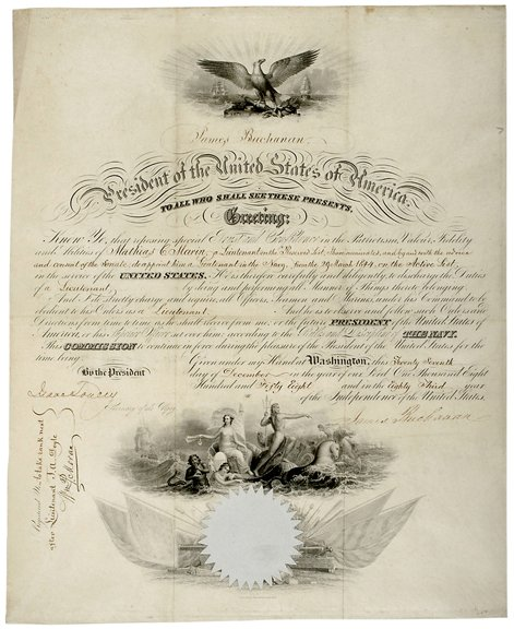 16: James Buchanan Signed Naval Commission, 1858