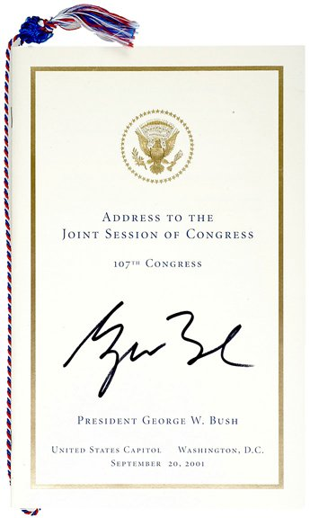 17: George Bush 2001 Signed State of Union Speech