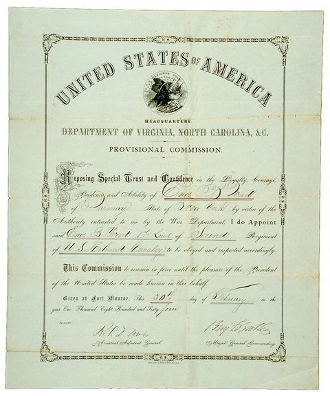 18: 1864 Civil War Signed Document Gen. B. Butler