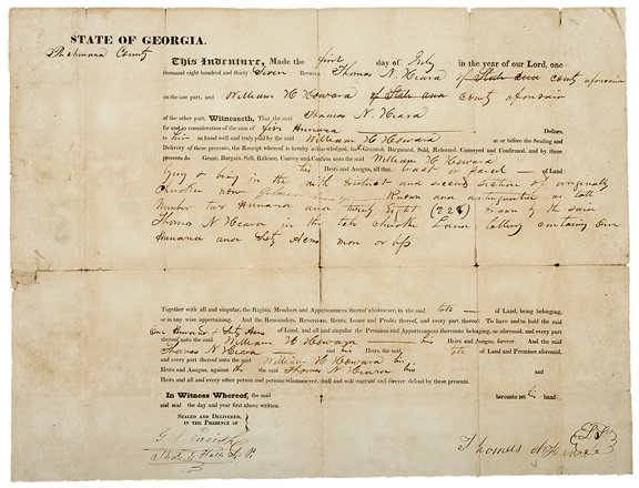 23: 1837 Georgia Indenture,Cherokee Land Lottery