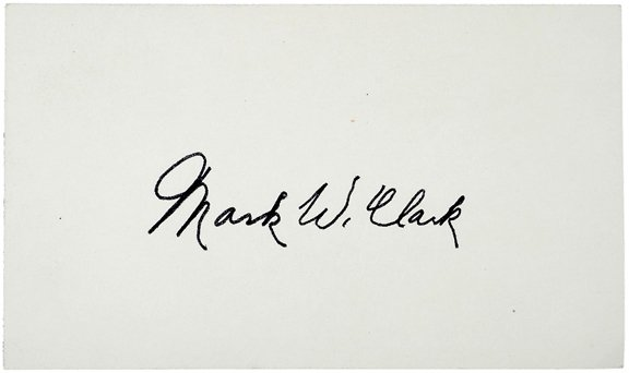 24: WWII Gen. Mark W. Clark Signed Card